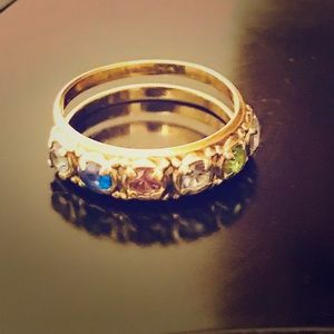 💍14K Yellow Gold,6 Birthstone Vintage Mother Ring